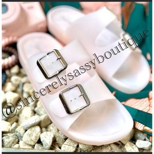 Blush Jelly Double Buckle Slides💖